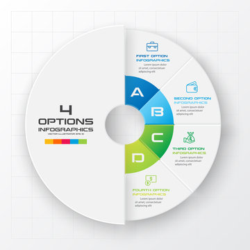 Circle chart infographic template with 4 options,Vector illustration.