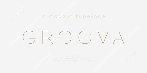 Abstract thin line font alphabet. Minimal modern fashion fonts and numbers. Typography typeface uppercase lowercase and number. vector illustration