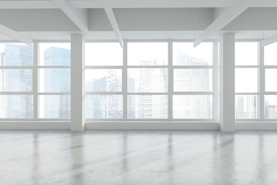 Empty panoramic industrial style office, cityscape