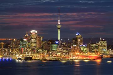 Illuminated Buildings In City At Night - fototapety na wymiar
