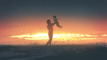 Foto op Aluminium Grandfailure silhouette of the father carring his daughter up at sunset, digital art style, illustration painting