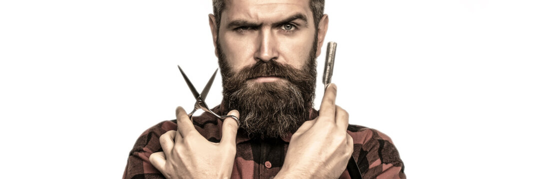 Mustache men. Beard macho man. Bearded man, bearded male. Portrait beard man. Barber scissors and straight razor, barber shop