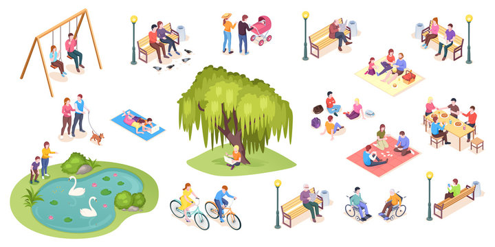 People in park leisure and outdoor activity, family picnic and summer rest, vector isometric isolated elements. City park isometry icons of people sitting on bench, playing on lawn and reading book