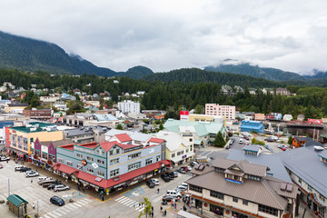 View from cruise ship over Ketchikan, a port town that is a popular cruise ship stop on the Inside Passage, Alaska, USA