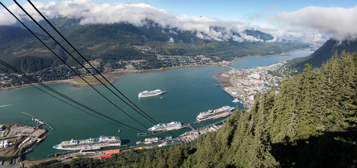 Panoramic aerial view of the Juneau with cruise ship dock as seen from the Mount Roberts Tramway, Alaska, USA