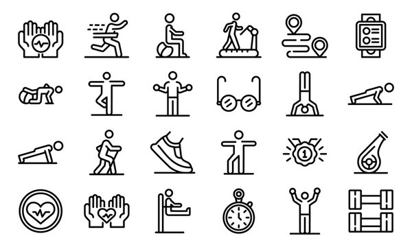 Workout seniors icons set. Outline set of workout seniors vector icons for web design isolated on white background