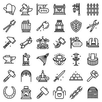 Blacksmith icons set. Outline set of blacksmith vector icons for web design isolated on white background