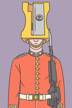 Illustration of a Queen's guard with a sharpener instead of his hat.