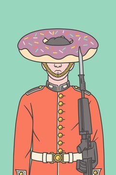 Illustration of a Queen's guard with a donut instead of his hat.