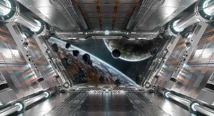 Wall Mural - White and silver futuristic spaceship interior with window view on planets 3d rendering