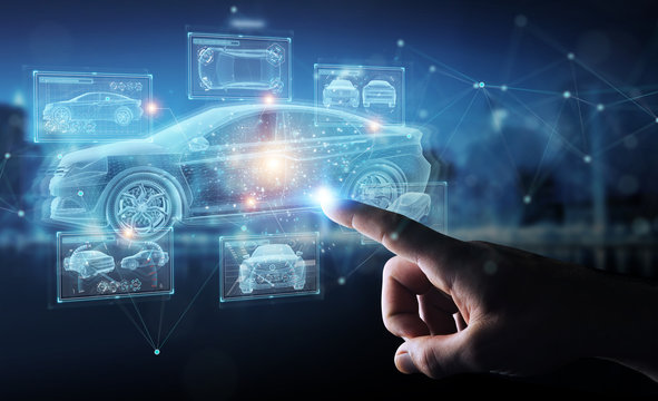 Man hand holding and touching holographic smart car interface projection 3D rendering
