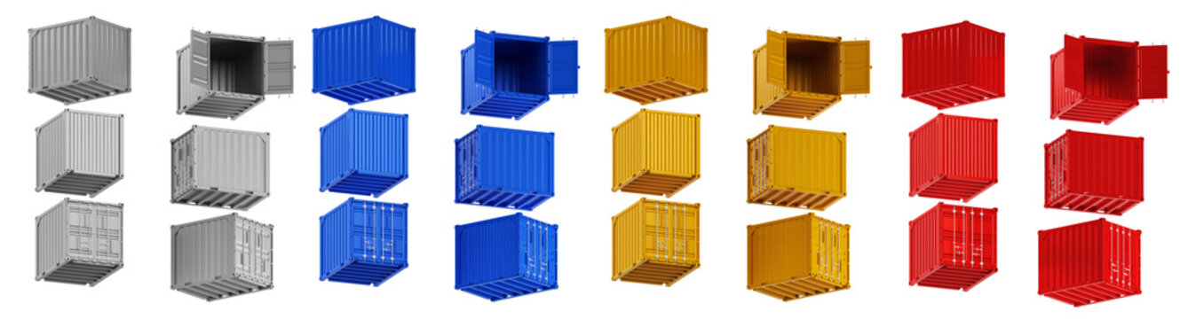 A high quality image of 10ft shipping containers on a white background with clipping path. Set Ten foot sea shipping containers 3d render