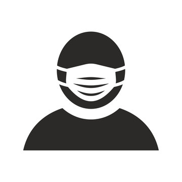 Man wearing medical face mask icon. Vector icon isolated on white background.
