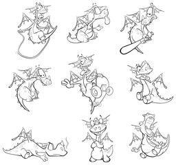 Set Vector Illustration of a Cute Cartoon Character Dragon for you Design and Computer Game Coloring Book Outline