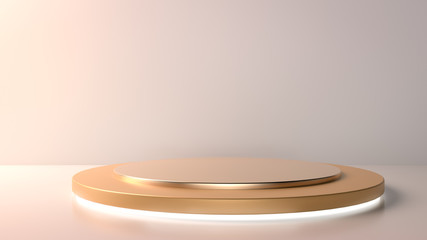 Beatiful golden stage, pedestal or podium in nude color paper studio. Perfect background or mockup for cosmetics or fashion. Place your object or product on pedestal. 3d render.