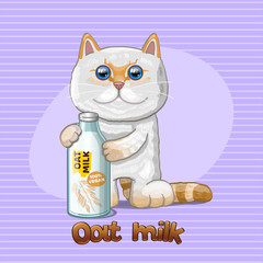 Cat and glass bottle with oat milk. Vector illustration