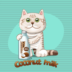 Cat and glass bottle with coconut milk. Vector illustration