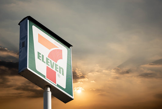 7-Eleven Bangkok, Thailand 7-11 logo items and thousands of branches in Thailand that mok 7 Thailand 11 May 2020