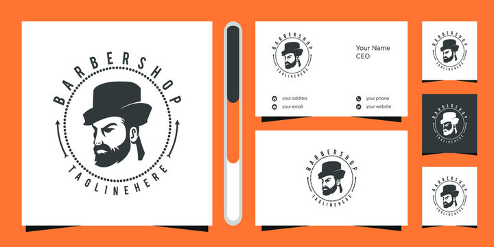Barbershop logo design vector and business card