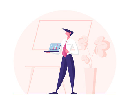 Conference Room Meeting, Seminar. Business Trainer Character Giving Financial Consultation Show Presentation on Laptop with Data Analysis and Statistics Charts and Graphs. Cartoon Vector Illustration