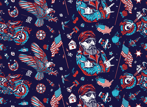 Bikers pattern. Bearded biker man and motorcycle. American riders. Patriotic eagle, flags, maps.Traditional tattooing background. Racing sport art, spark plugs, motor. Lifestyle of racers