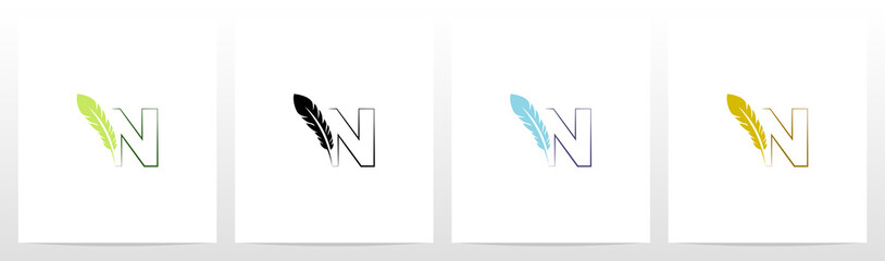 Feather Quill On Letter Logo Design N Fototapete