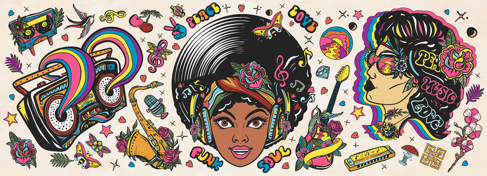 Funk music. Old school tattoo vector collection. African American young funky woman. Soul party hippie girl, saxophone, guitar and retro rainbow boom box. Traditional musical tattooing style
