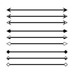 arrow in horizontal line set isolated on white, arrow line for indicate the dimension of drawing, horizontal arrow different, arrowhead black on a line horizontal for dimension scale, clip art arrow