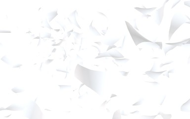 Flying sheets of paper isolated on white background. Abstract money is flying in the air. 3D illustration Fototapete