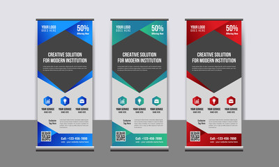 Creative Abstract Business Roll Up Banner Design Template. Standee Design.Corporate banner design.creative concept or Modern Business Roll up Banner