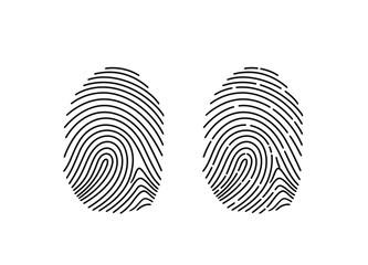 Fingerprint logo. Isolated fingerprint on white background