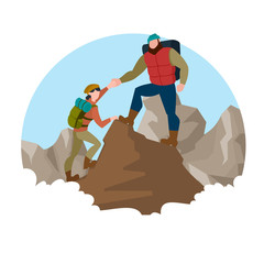 Cartoon Color Characters People and Mountain Climber Concept. Vector