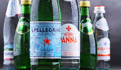 Bottles of global mineral water brands