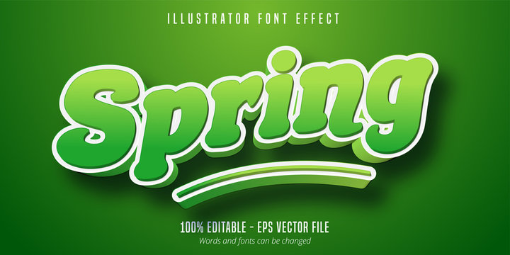 Spring text effect, green editable font style