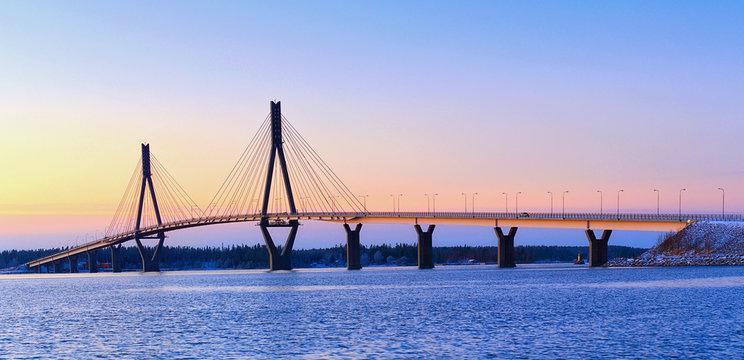 Cable-stayed tuftform bridge to the Raippaluoto Island in Mustasaari near Vaasa, Finland.