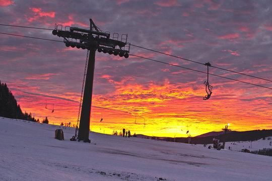 Beautiful sunset in Ramzova ski resort, Czech Republic
