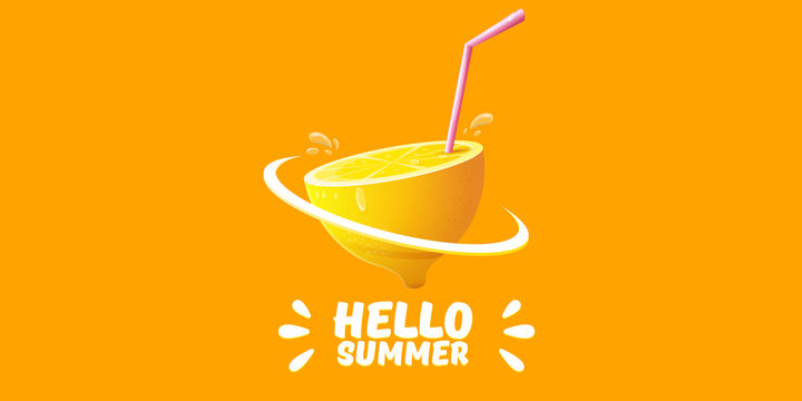 Vector Hello Summer Beach Party horizontal banner Design template with fresh lemon isolated on orange background. Hello summer concept label or poster with orange fruit and typographic text.