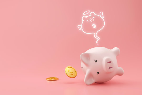 Piggy bank and golden coins on pink background with lost money concept. Financial planning for the future. 3D rendering.
