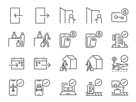 Check-In and Check-Out line icon set. Included icons as arrival, booking, departure, trip,hotel, flight and more.