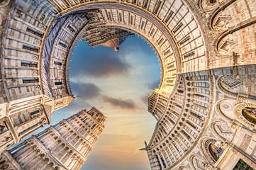 Pise, petite planète, tour, Italie, piazza dei Miracoli, monument, tourisme Fotomurales