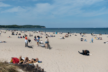People enjoy good weather on the baltic sea following ease of the coronavirus disease (COVID-19) restrictions in Sopot