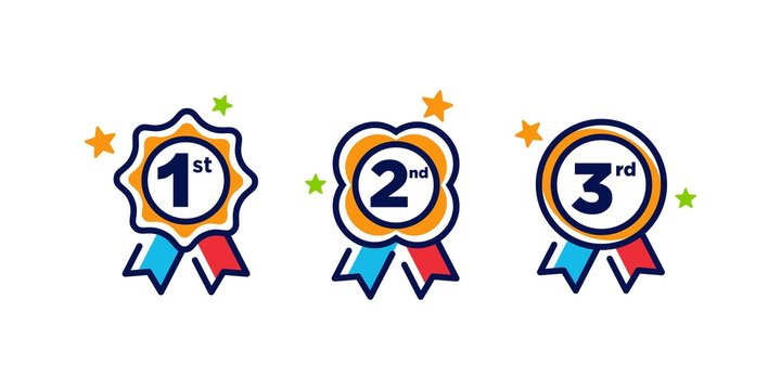 1st 2nd 3rd medal first place second third award winner badge guarantee winning prize ribbon symbol sign icon logo template Vector clip art illustration