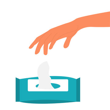 Vector illustration of daily human hygiene. Hand washing with antibacterial wet wipes
