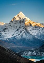 Fototapeta Ama Dablam mountain peak during sunset obraz