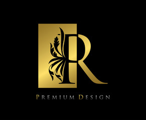 Elegant R Luxury Logo Icon, Vintage Negative Space Gold R Letter Logo Design. Perfect for fashion, Jewelry, Beauty Salon, Cosmetics, Spa, Wedding Logo, Letter Stamp, Hotel and Restaurant Logo.