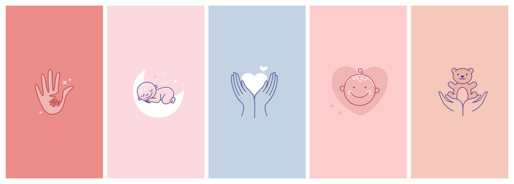 Vector set of abstract logo design templates in simple linear style - motherhood emblems, hands and heart, baby sleeping and smiling