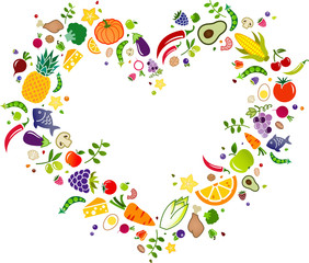 healthy colorful food vector illustration. Concept with icons of cooking ingredients in the shape of a heart. Healthy eating, fresh ingredients, balanced diet illustration.