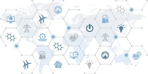 smart grid vector illustration. Concept with connected icons related to worldwide innovative energy transmission, global electricity distribution or transport with supported by iot technology.