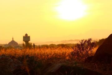 Foto auf Gartenposter Gelb Schwefelsäure Countryside Landscape At Sunset