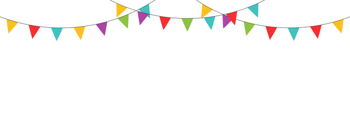 Carnival  colored garlands and bunting. Vector isolated illustration. Confetti festive colorful carnival illustration. Celebrate background.